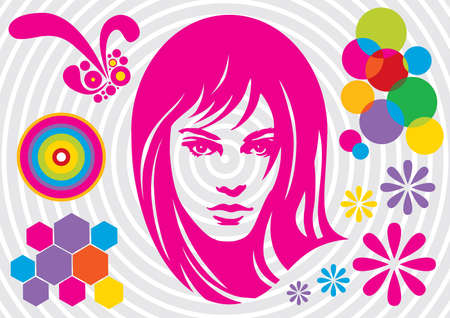 Attractive girl - Vector EPS8. You can use any vector compatible software to openmodifyuse the file. The different graphics are on separate layers so they can be easily edited individually. Scalable to any size without loss of quality. Vector