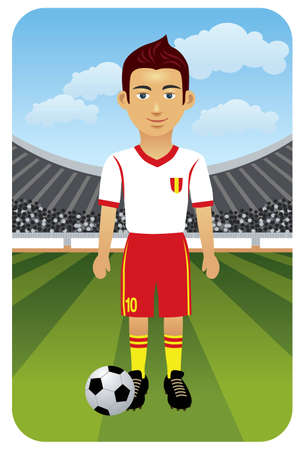 cartoon football player: Sport series: SoccerFootball - Vector EPS8. You can use any vector compatible software to openmodifyuse the file. The different graphics are on separate layers so they can be easily edited individually. Scalable to any size without loss of quality.