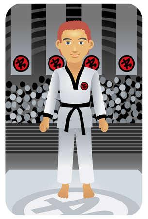 compatible: S�rie Sport: Arts martiaux - Vector EPS8. Vous pouvez utiliser n'importe quel logiciel compatible avec des vecteurs d'ouvrir  modifier  utiliser le fichier. Les diff�rents graphiques sont sur des couches de sorte qu'ils peuvent facilement �tre adapt�es individuellement. Scalable � n'importe quelle taille sans perte de qualit�. Illustration