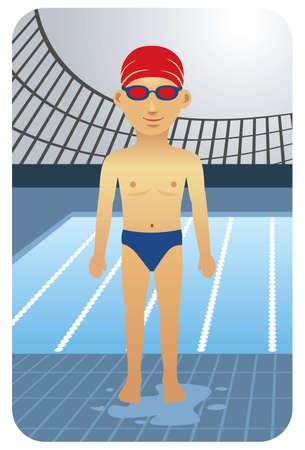 piscina olimpica: Deporte serie: competitivo nadador - Vector EPS8. Usted puede usar cualquier software compatible con los vectores para abrir  modificar  utilizar el archivo. Los distintos gr�ficos est�n en capas separadas para que puedan ser f�cilmente editados individualmente. Escalable a cualquier tama�o sin p�rdida de calidad.