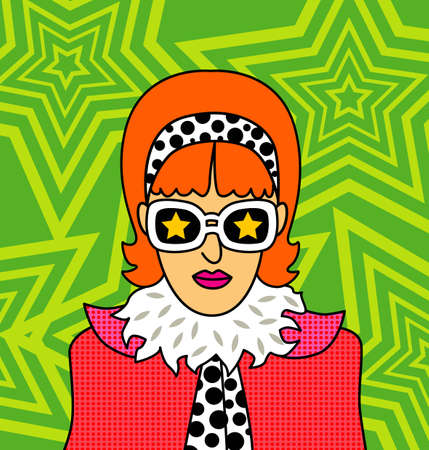 seventies: Retro girl - Vector EPS8. You can use any vector compatible software to openmodifyuse the file. The different graphics are on separate layers so they can be easily edited individually. Scalable to any size without loss of quality.