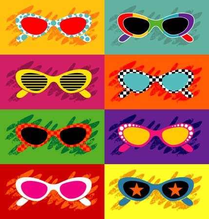 50s fashion: Pop art sunglasses - Vector EPS8. You can use any vector compatible software to openmodifyuse the file. The different graphics are on separate layers so they can be easily edited individually. Scalable to any size without loss of quality.