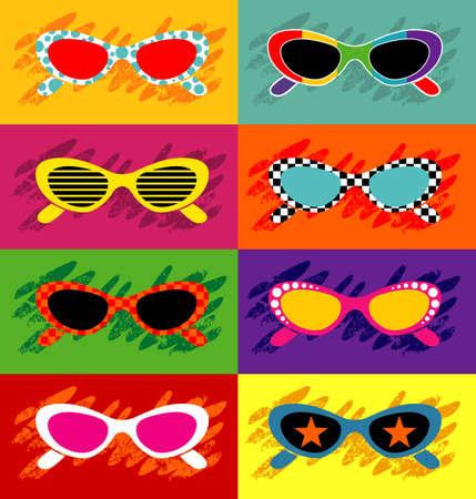 fashion bril: Pop art zonnebril - Vector EPS8. U kunt elke vector compatibele software te openen  wijzigen  gebruik van het bestand. De verschillende graphics zijn op aparte lagen, zodat ze gemakkelijk kunnen afzonderlijk worden bewerkt. Schaalbaar in elk formaat zonder verlies van kwaliteit.