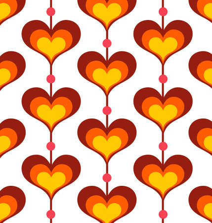 seventies: Heart shaped background - Vector EPS8. You can use any vector compatible software to openmodifyuse the file. The different graphics are on separate layers so they can be easily edited individually. Scalable to any size without loss of quality. Illustration