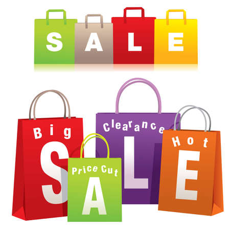 Sale shopping bags - Vector EPS8. You can use any vector compatible software to openmodifyuse the file. The different graphics are on separate layers so they can be easily edited individually. Scalable to any size without loss of quality. Vector
