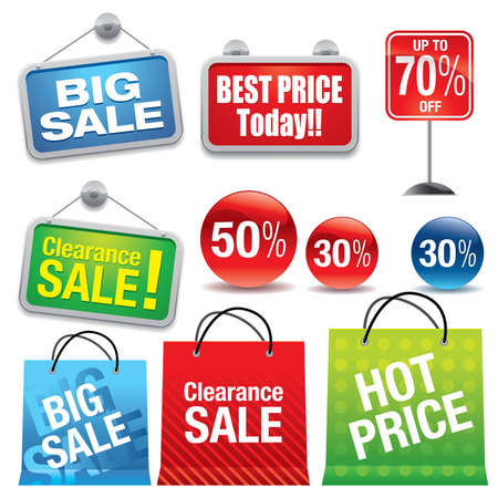 Sale shopping bags and signs - Vector EPS8. You can use any vector compatible software to openmodifyuse the file. The different graphics are on separate layers so they can be easily edited individually. Scalable to any size without loss of quality. Vector