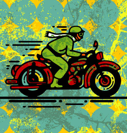 motorcycle rider: Illustration of young man on vintage motorbike