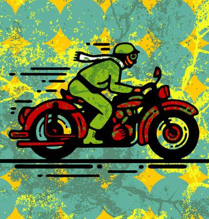 the rider: Illustrazione della giovane su moto d'epoca