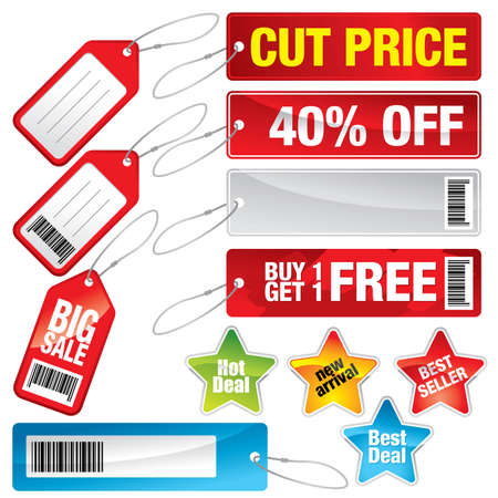 Sale marks, tags and stickers - Colorful vector illustration of various sale items. Illustration