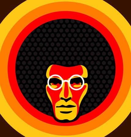 anni settanta: Soul man - Retro illustrazione vettoriale di un maschio con i capelli afro. Vettoriali