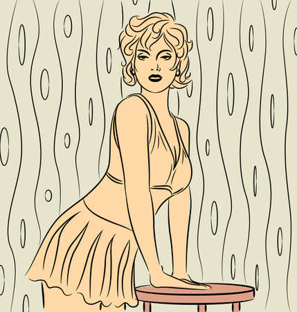 Attractive vintage girl - Vector illustration of a young sexy girl posing. Vector