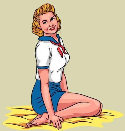 欲望: 魅力的なピンナップ - 床の上に座っている若いセクシーな女の子のベクトル イラスト。  イラスト・ベクター素材