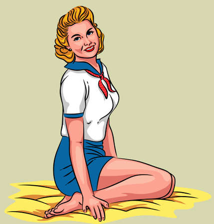 legs up: Charming pin-up - Vector illustration of a young sexy girl sitting on the floor.