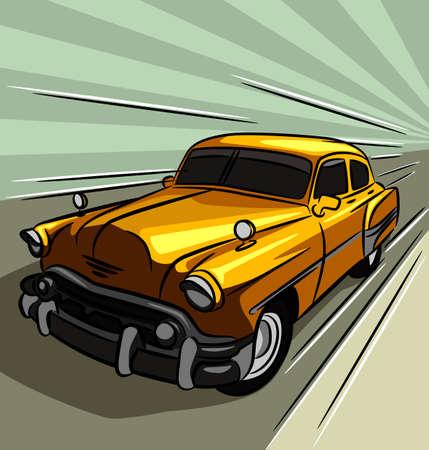 Retro coche - Vector ilustración de un antiguo automóvil en la carretera. Ilustración de vector