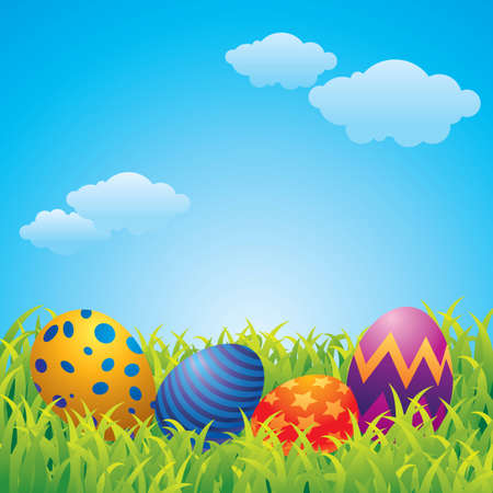 Colorful vector illustration of Easter eggs in a grassland.