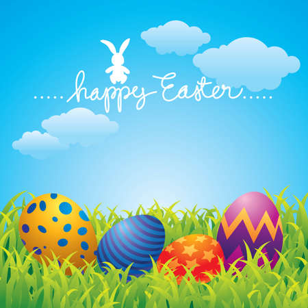 Colorful Easter greeting card with eggs and a bunny. Stock Vector - 4566878