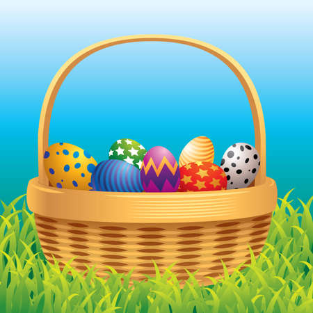 Colorful vector illustration of Easter eggs in a basket. Vector