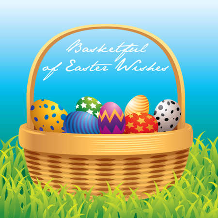 Easter basket greeting card Stock Vector - 4566885