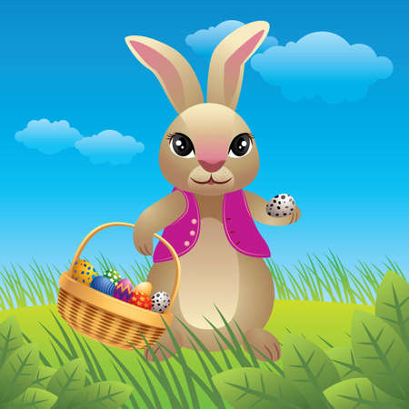 Vector illustration of a happy Easter bunny carrying eggs. Stock Vector - 4566875