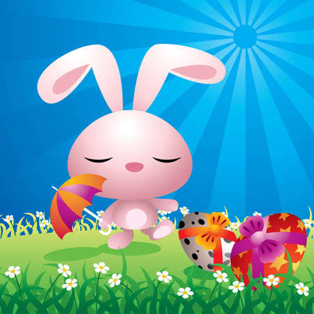 Colorful illustration of a sweet Easter bunny in a field. Vector