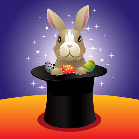 Vector illustration of a magic bunny in a high hat.