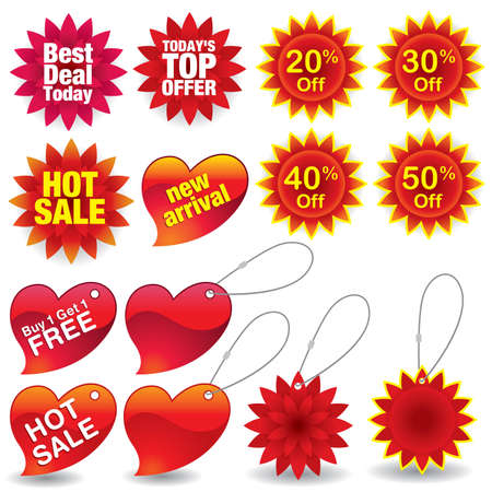 Sale labels and tags #4 - colorful vector illustration of various sale marks.