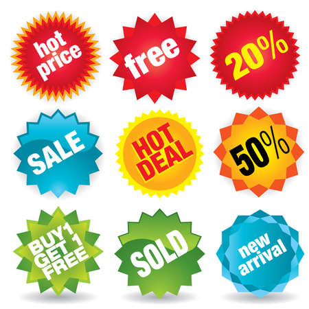 promotion icon: Set of colorful vector sale stickers and labels - more sale vectors in my portfolio. Illustration