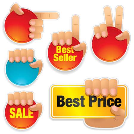 Set of hands holding brightly colored buttons - visit our portfolio for more sale illustrations.
