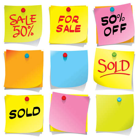 Bright colored sticky notes Vector