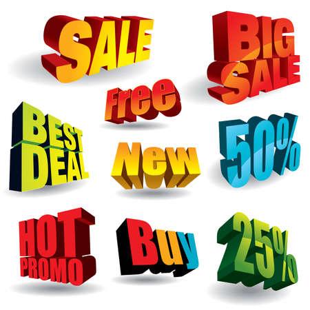 promo: Set di coloratissimi sconto slogan - pi� illustrazioni vendita nel mio portafoglio.