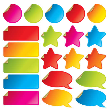 Collection of colorful vector stickers with peeling corners. Visit my portfolio for all kinds of stickers, labels and tags. Stock Vector - 4757316