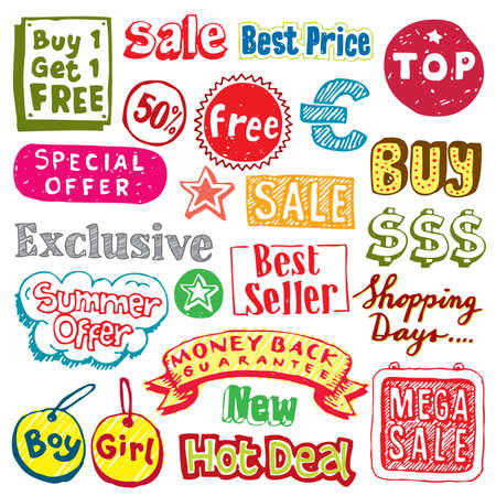 Shopping doodles - More sale and shopping illustrations in my gallery. Vector