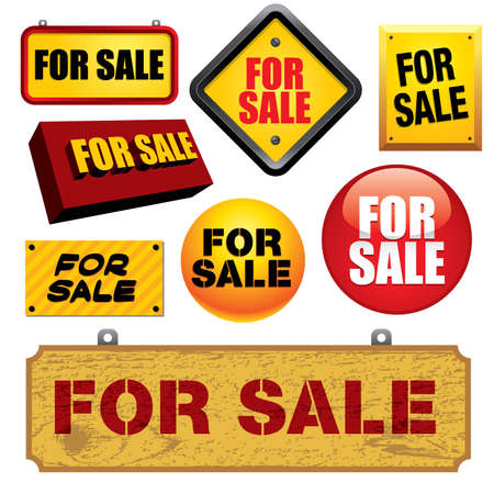 property for sale: For sale signs - Visit my portfolio for similar illustrations and vectors.