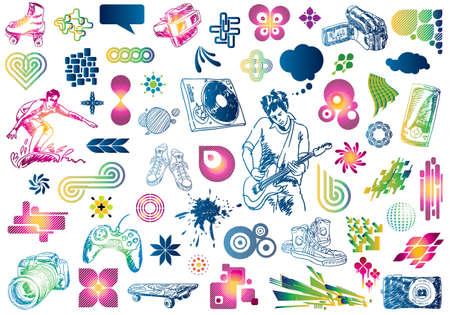 korcsolya: Leisure design doodles: Value pack of many design elements.