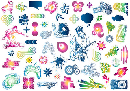 Leisure design doodles: Value pack of many design elements.  Vector