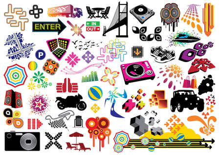 Collection of many design elements. Illustration