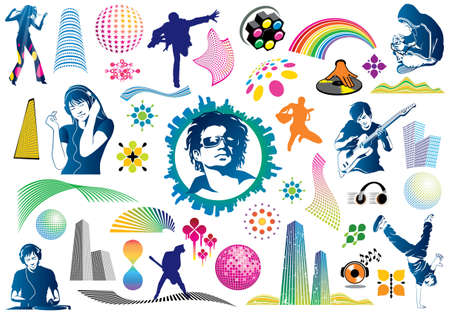 Value pack of many music design elements. Use to party or festival flyers and album covers. Visit my portfolio for many more vectors and illustrations. Ilustracja