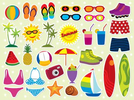 Summer holidays icon set. Please visit my portfolio for similar images. Ilustrace