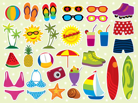 Summer holidays icon set. Please visit my portfolio for similar images. Vector