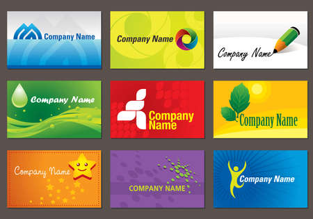 Set of various business cards. You can edit the cards by adding your name and company name.