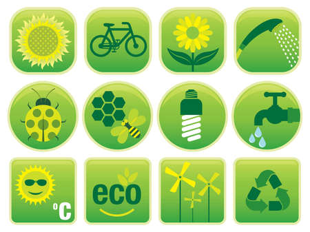 12 Environmental friendly icons. Use to create brochures, buttons and labels. Similar images in my portfolio. Vector