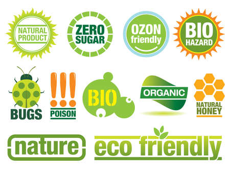 Ecology themed icon set. Use to create buttons, labels and brochures. Similar images in my portfolio. Vector