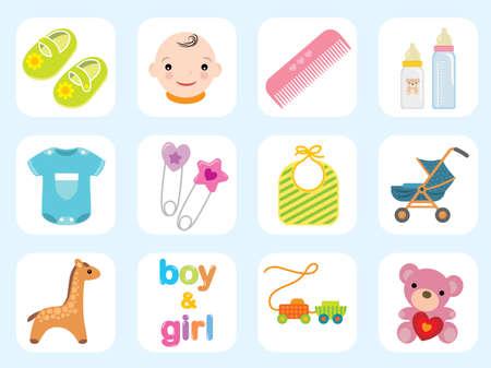 Baby-Icon-Sammlung. Verwenden Sie zum Erstellen niedlichen Baby-Karten und Baby-Dusche-Einladungen. Mehr Bilder in meinem Portfolio.