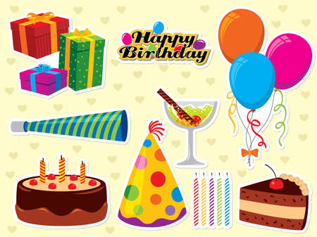 trozo de pastel: Happy Birthday conjunto. Utilizar para crear tarjetas de felicitaci�n y Parte invitaciones. Por favor visite mi portafolio de im�genes similares.