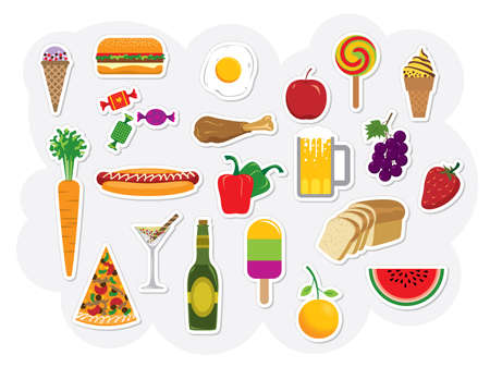 Food and drink assortment. Please visit my portfolio for more vectors and images. Vector