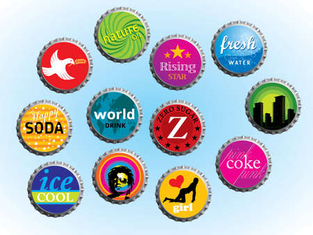 Collection of various illustrated beverage caps. Please visit my portfolio for more vectors and images.