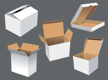 Realistic vector illustration of cardboard shipping boxes. Need other images and vectors? Please visit my portfolio. Vector