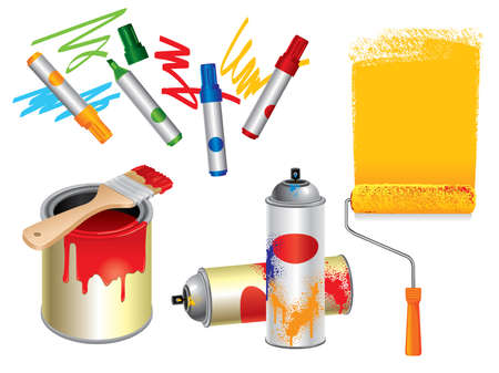 Set of 3d paint, draw and spray tools. Need other illustrations and vectors? Please visit my portfolio. Vector