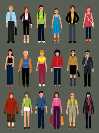 Pack ludzi w różnych sytuacjach. Więcej ilustracji w moim portfolio.