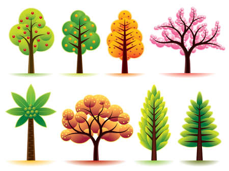 Collection of various modern trees. More illustrations in my portfolio. Ilustracja